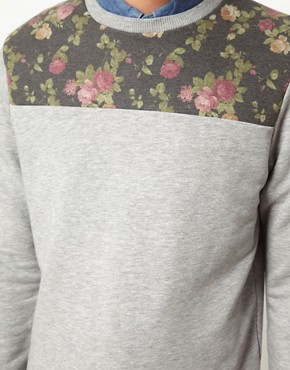 Image 3 ofASOS Sweatshirt With Floral Front Yoke