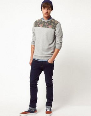 Image 4 ofASOS Sweatshirt With Floral Front Yoke