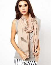 Nali Feather Print Pashmina Scarf