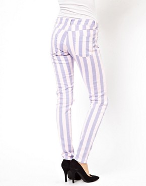 Image 2 ofASOS Elgin Skinny Jeans in Acid Wash Stripe with Rips