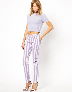 Image 4 ofASOS Elgin Skinny Jeans in Acid Wash Stripe with Rips