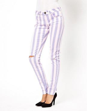 Image 1 ofASOS Elgin Skinny Jeans in Acid Wash Stripe with Rips