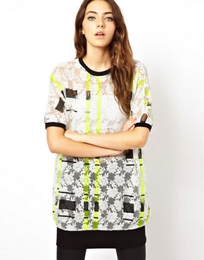 Image 1 ofASOS Top with Sheer Check Print