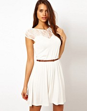 Rare Dress with Lace Insert and Plaited Belt Detail