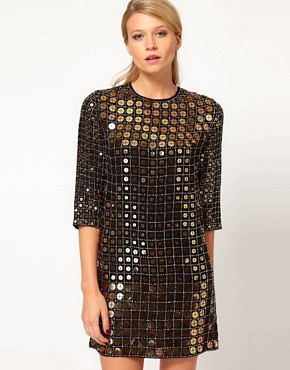 Image 1 ofFrench Connection Solar Heat Sequin Dress