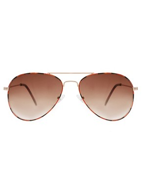 Image 2 ofASOS Ginger Tortoiseshell Aviator Sunglasses