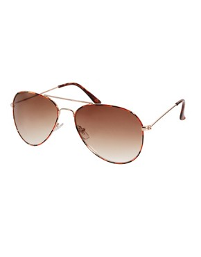 Image 1 ofASOS Ginger Tortoiseshell Aviator Sunglasses