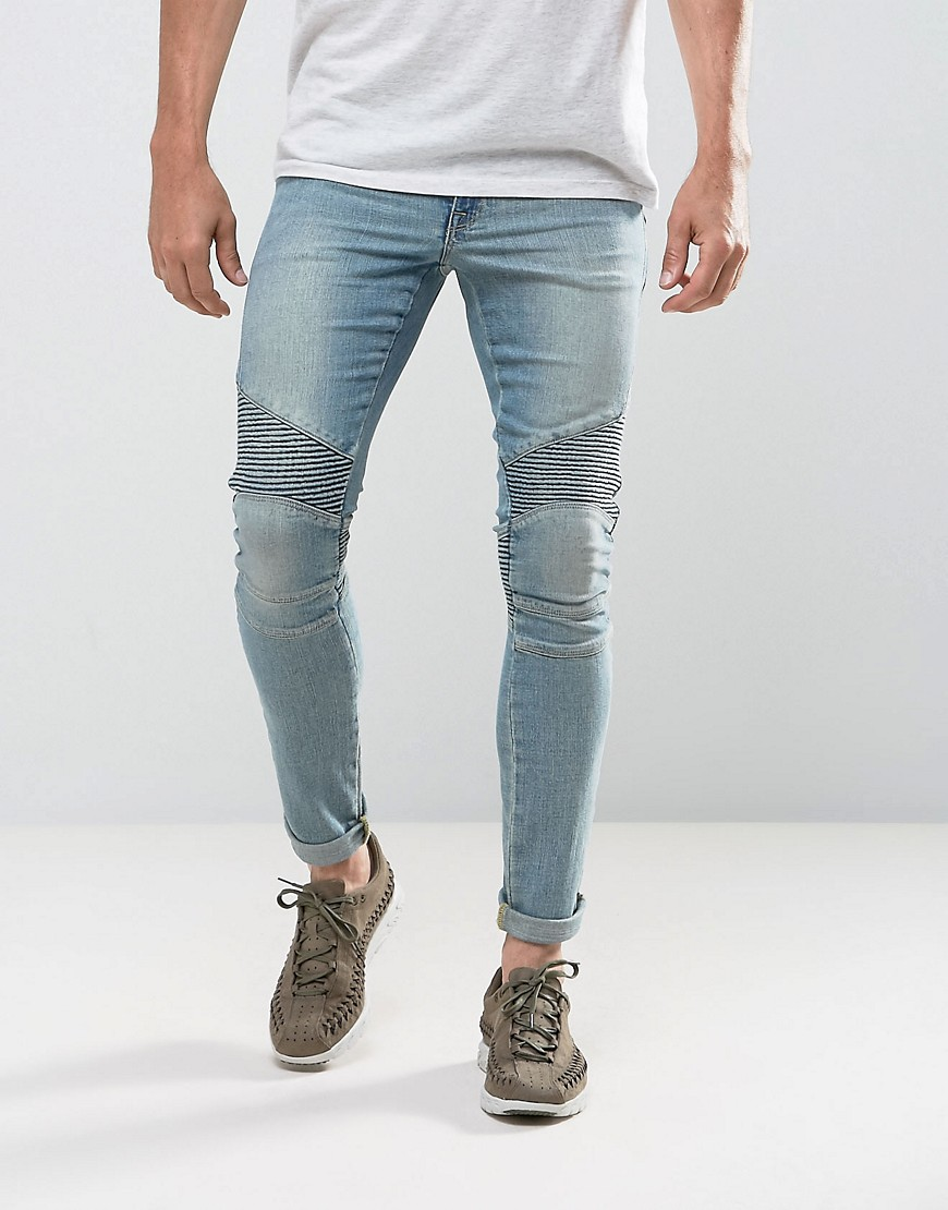 ASOS Extreme Super Skinny Jeans In Light Wash Biker - Light wash blue