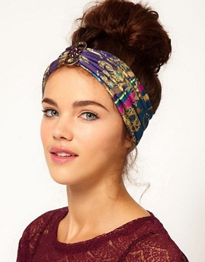 Image 1 ofRiver Island Jewel Print Stretch Head Band