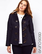 ASOS CURVE Exclusive Duffle Coat With PU Clasps