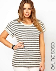 ASOS CURVE Sweatshirt In Textured Stripe