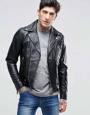 Diesel L-Beck Leather Moto Jacket Zip Details