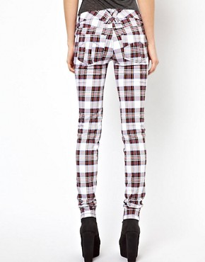 Image 2 ofTripp NYC Tartan Skinny Jeans