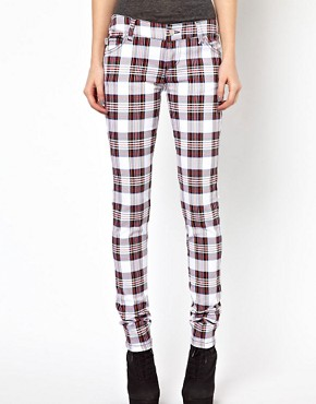 Image 1 ofTripp NYC Tartan Skinny Jeans