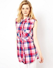 Iro Longline Sleeveless Plaid Shirt in Textured Cotton