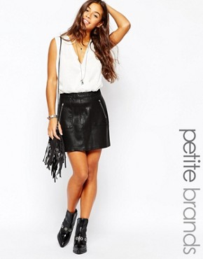 New Look Petite Leather Look Skirt
