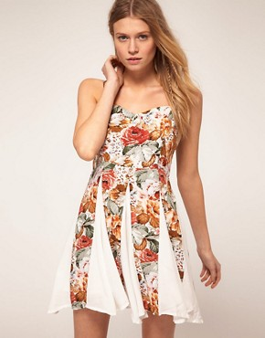 Image 1 ofMinkpink Four Seasons Contrast Godet Dress