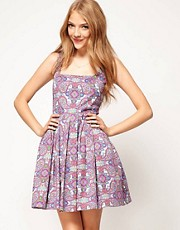 ASOS Dolly Skater Dress In Paisley