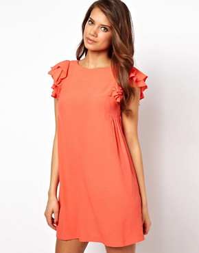 Image 1 ofASOS Shift Dress With Frill Sleeves