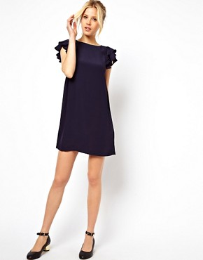 Image 4 ofASOS Shift Dress With Frill Sleeves