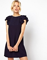 ASOS Shift Dress With Frill Sleeves