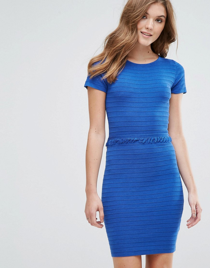 Lavand Ribbed Jumper Dress With Frill Detail