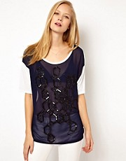 ASOS T-Shirt with Embellished Woven Front