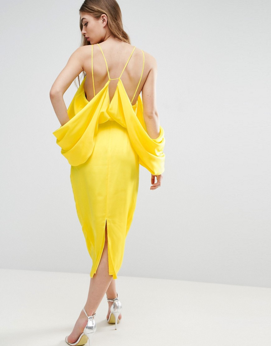 ASOS Extreme Sleeve Drape Midi Dress - Yellow