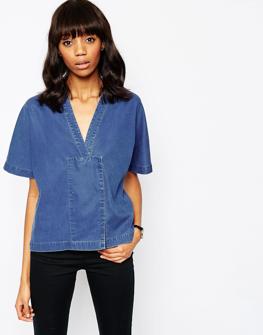 Image 1 of ASOS Denim Premium Double Breasted Shirt With Concealed Poppers