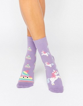 ASOS Unicorn And Rainbow Poo Ankle Socks
