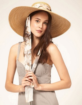 Image 1 of Paul Smith Straw Sun Hat With Dandelion Silk Tie