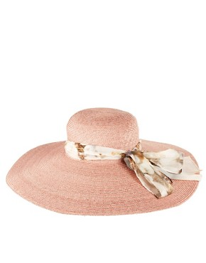 Image 2 of Paul Smith Straw Sun Hat With Dandelion Silk Tie