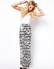 ASOS Maxi Skirt in Grunge Stripe