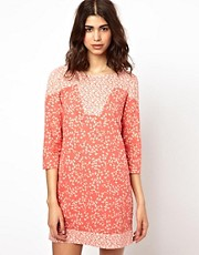 BA&SH Panelled 60s Mini Dress in Printed Cotton