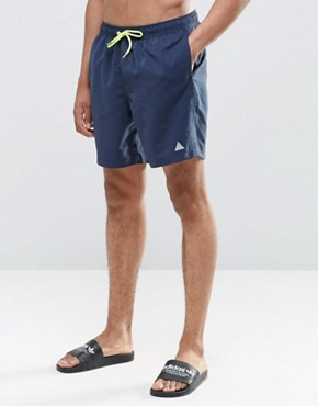 ASOS Mid Length Swim Shorts In Navy With Triangle Logo