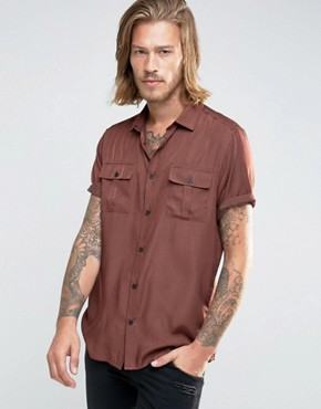 ASOS Military Shirt In Rust Viscose In Regular Fit