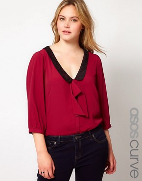 Image 1 ofASOS CURVE Exclusive Blouse With Pussybow