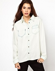 ASOS Bleach Tencel Denim Shirt