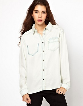 Image 1 ofASOS Bleach Tencel Denim Shirt