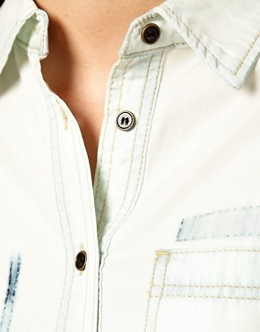 Image 3 ofASOS Bleach Tencel Denim Shirt