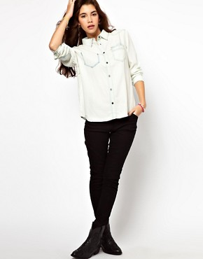 Image 4 ofASOS Bleach Tencel Denim Shirt