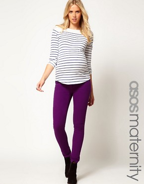 Image 1 ofASOS Maternity Exclusive Skinny Jeans in Purple