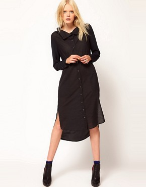 Image 1 ofSelected Bita Maxi Shirt Dress with Funnel Neck Detail
