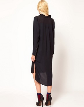 Image 2 ofSelected Bita Maxi Shirt Dress with Funnel Neck Detail