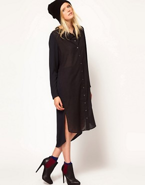 Image 4 ofSelected Bita Maxi Shirt Dress with Funnel Neck Detail