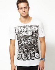 Diesel - T6-Carpet - T-shirt con leopardi stampati