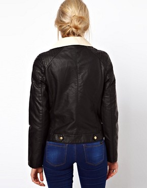 Image 2 ofOasis Colour Block Leather Look Biker Jacket