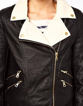 Image 3 ofOasis Colour Block Leather Look Biker Jacket