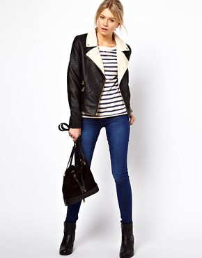 Image 4 ofOasis Colour Block Leather Look Biker Jacket
