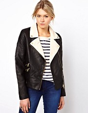 Oasis Colour Block Leather Look Biker Jacket
